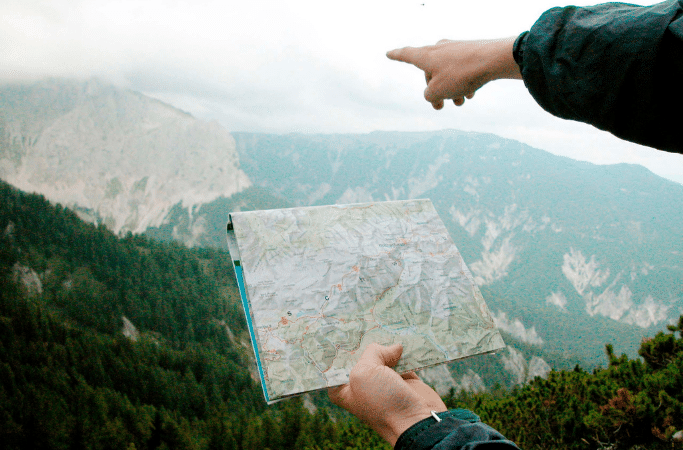 using a map while hiking