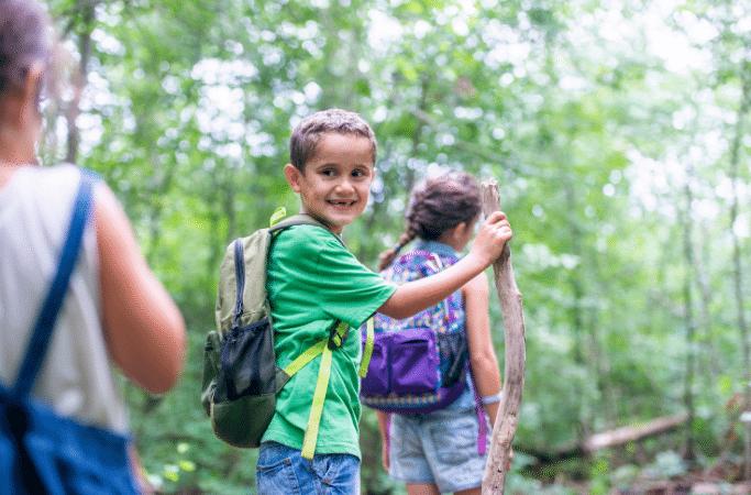 kids on a hiking trail