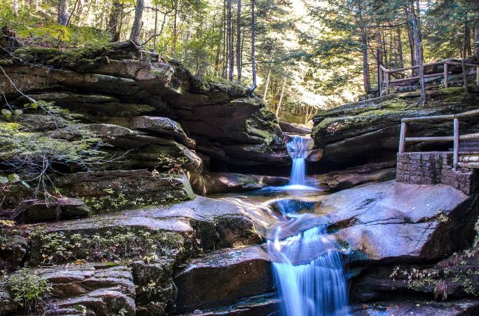 waterfall on a hiking trail